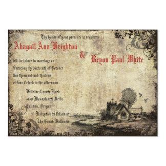 Convite vermelho do casamento vintage da igreja do
