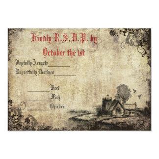 Convite vermelho do casamento vintage RSVP da