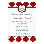 convite vermelho do chá de fraldas do brinquedo do convite 12.7 x 17.78cm