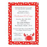 convite vermelho do chá de fraldas do caranguejo convite 12.7 x 17.78cm