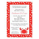 convite vermelho do chá de fraldas do caranguejo d
