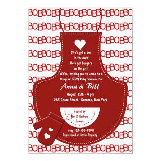 Convite vermelho do chá de fraldas do CHURRASCO do