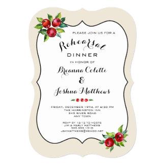 Convite vermelho do jantar de ensaio do feriado