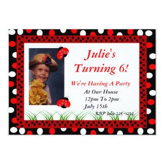 Convite vermelho do joaninha e das bolinhas