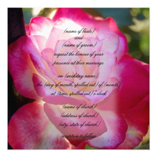convite vermelho do rosa branco
