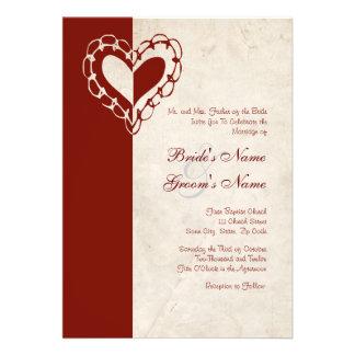 Convite vermelho e branco do casamento do coração