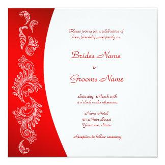 Convite vermelho e branco do casamento do teste