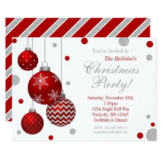 Convite vermelho e de prata da festa de Natal dos