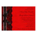 Convite vermelho e preto do casamento vintage do l