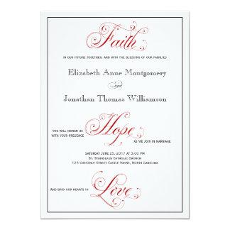 Convite vermelho elaborado do casamento do amor da