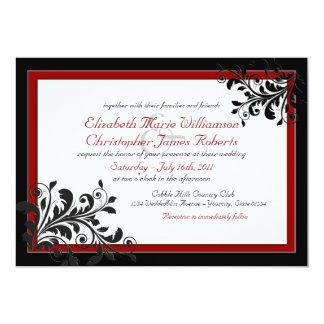 Convite vermelho elegante clássico do casamento