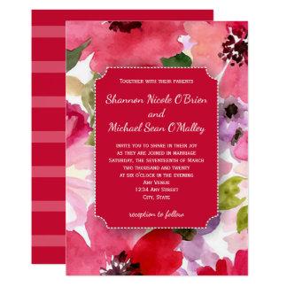 Cartão Convite vermelho floral moderno do casamento da