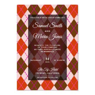 Convite vermelho marrom extravagante do casamento