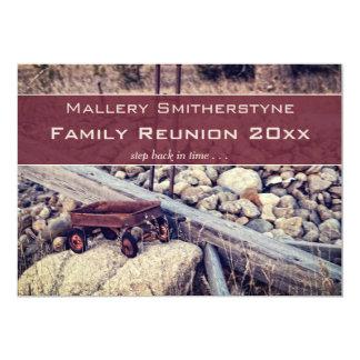 Convite vermelho nostálgico da reunião de família
