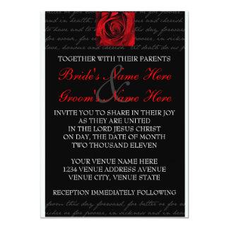 Convite vermelho, preto, branco, cor-de-rosa