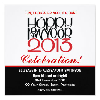 Convite vermelho preto do feliz ano novo 2013
