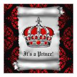 Convite vermelho real do príncipe chá de fraldas