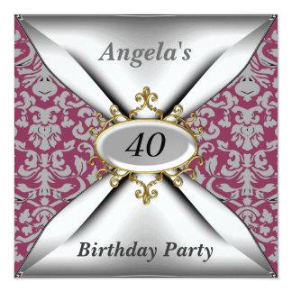 Convite vermelho velho da festa de aniversário