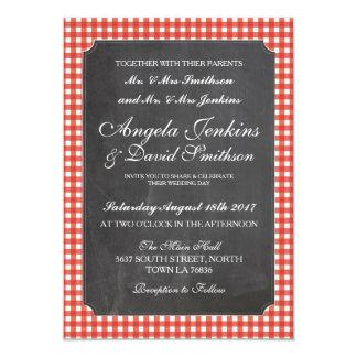 Convite vermelho Wedding da verificação do giz