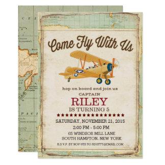 Convite vindo do viagem do avião do aniversário da
