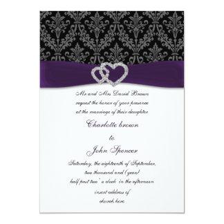 convite violeta do casamento do diamante do