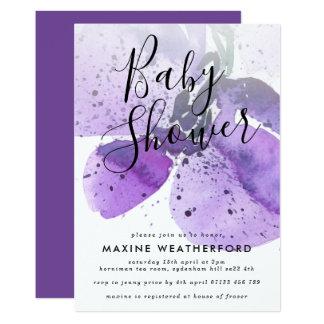 Convite violeta do chá de fraldas da orquídea da