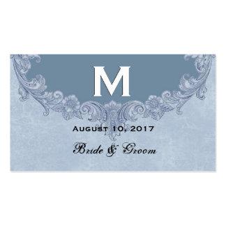 Convite W19Z do casamento vintage do azul de pó Cartão De Visita