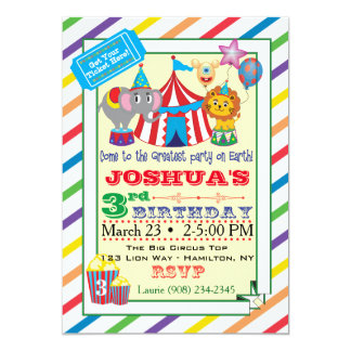 Convite w/Elephant do circo