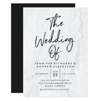 Convite Wedding de mármore branco moderno do