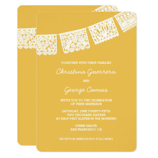 Convite Wedding do amarelo   de Papel Picado