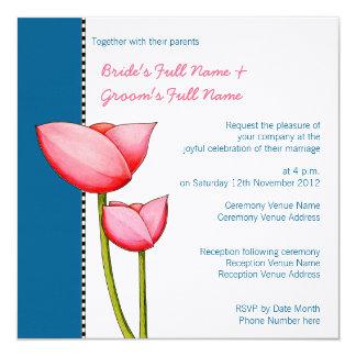 Convite Wedding do azul 2 simples das flores