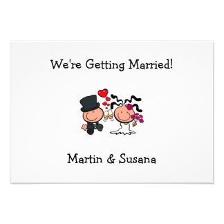 Convite Wedding dos desenhos animados do casal