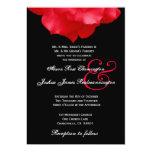 Convite Wedding F205 das pétalas de rosa vermelha