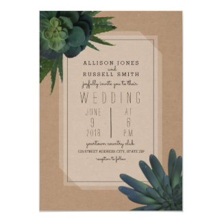 Convite Wedding inspirado Cardstock do Succulent
