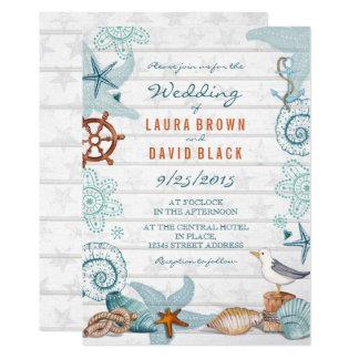 Convite Wedding náutico da praia |