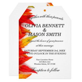 Convite Wedding Textured das folhas de outono