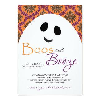 Convites alaranjados do Dia das Bruxas do fantasma