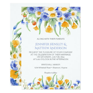 Convites amarelos azuis dos Wildflowers da