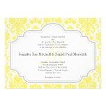 Convites amarelos do casamento tema damasco do mon