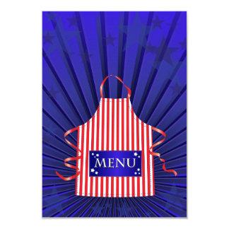 Convites americanos do menu do comensal