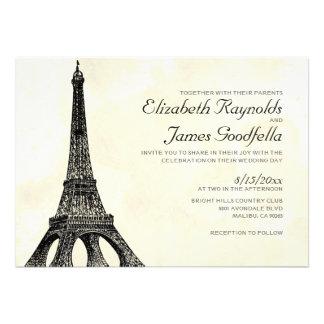 Convites antigos do casamento da torre Eiffel