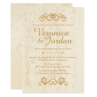 Convites antigos do casamento do ouro