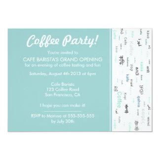 Convites azuis da abertura da loja do café da loja