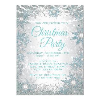 Convites azuis da festa de Natal do floco de neve