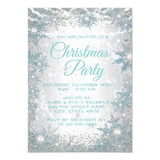 Convites azuis da festa de Natal dos flocos de