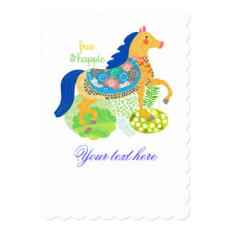 Convites azuis da ilustração do cavalo