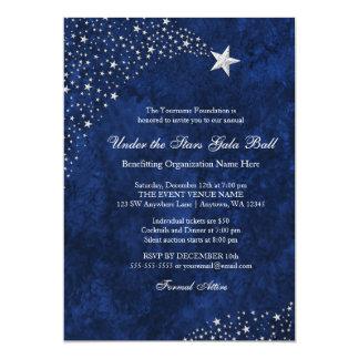 Convites azuis de prata da bola da gala das