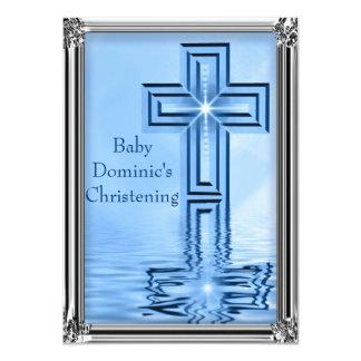 Convites azuis & de prata elegantes do batismo
