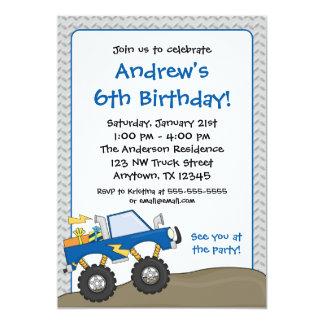 Convites azuis do aniversário do monster truck