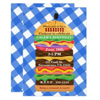 Convites azuis do assado do Cookout do verão do